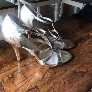 Michael Kors Gold sandal heels size 10 like new